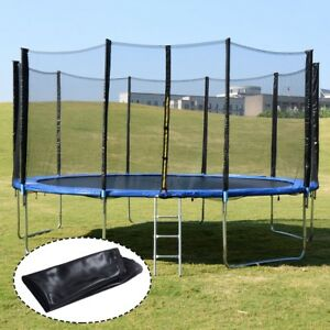 Round 15' Trampoline Mat Combo Bounce Jump Safety Enclosure Net with Ladder Play