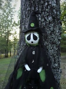 OoaK Primitive Paranormal Art Witch Ghost Doll wBlack Lantern 50