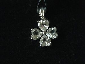 WHITE TOPAZ STERLING SILVER HEART OR 4 LEAF CLOVER  PENDANT 2.14 CTW