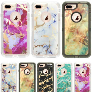 Marble Clear Defender Case For iPhone 6S78 Plus XRMax Works Fit Otterbox Clip