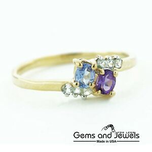 Womens Gold Amethyst and Tanzanite Two Stone Ring Solid 14K Yellow Gold $169.00