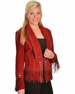 Womens Red Suede Leather Jacket Native Cow-lady Fringes & Beads Western Wear