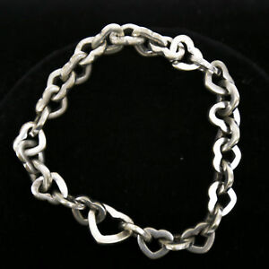 Tiffany & Co Sterling Silver Heart Chain Bracelet with Secret Heart Clasp