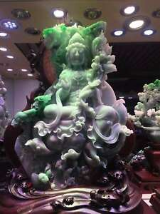 Chinese Exquisite Hand-carved natural jadeite jade Lotus Guanyin statue