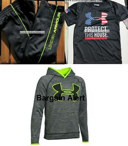 UNDER ARMOUR BOYS YOUTH SIZE 5 TRACK PANTS - SIZE YXS HOODIE ~ BLACK YELLOW $100