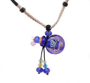 Glass Bottle Necklace Crystal Beads Essential Oil Pendant Necklace With Cord $6.99