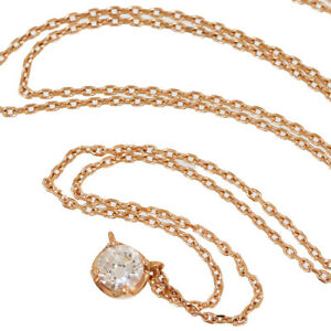 4℃ Solitaire Diamond Pendant Necklace in 18K Rose Gold wBoxCert D5009