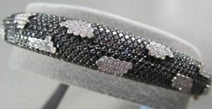 ANTIQUE 18KT ALLIGATOR DESIGN 4.43CT DIAMOND BLACK AND WHITE GOLD BANGLE !!!!!!!