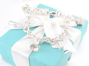 TIFFANY & CO SILVER PARTY CHARM BRACELET CHAMPAGNE CUPCAKE GIFT BOX PARTY HAT