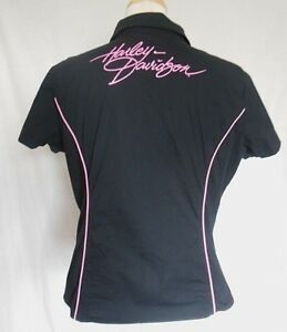 Harley-Davidson Pink Label Blouse Sz 2XL Black Front Zip Embroidery Cap Sleeves