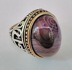 TURKISH HANDMADE JEWELRY 925 STERLING SILVER  BOTSWANA AGATE MEN RING SIZE 10