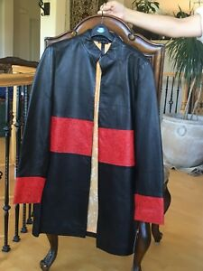 Black Leather Ladies Long Leather Jacket red stripe lining yellow. size small