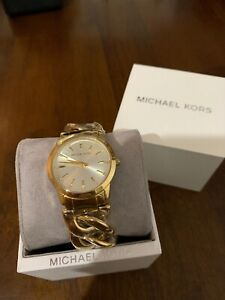 MICHAEL KORS MK3608 Elena Gold Tone Chain Bracelet Watch NWT $250