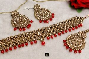 Choker Bridal Red Necklace Antique Gold Crystal Wedding Indian Jewelry Set
