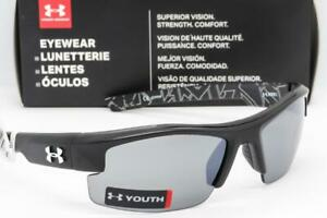 NEW UNDER ARMOUR NITRO L SUNGLASSES UA Youth Fit Satin Black  Grey Mirror lens