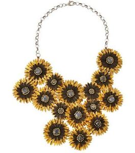 Deepa Gurnani Necklace Daisy Bib Statement Gold Black Choker Collar NEW