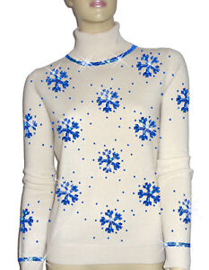 Luxe Oh` Dor 100% Cashmere Sweater Luxury Snowflakes Pearl White Royal