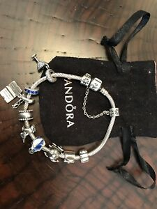 "Authentic Pandora Sterling Silver 7"" Charm Bracelet With 7 Charms 2 Stops Chain"
