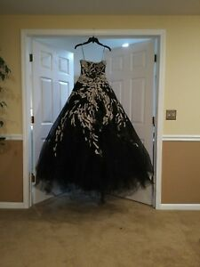 NWT Authentic Marchesa Couture Black Tulle Ball Gown Wedding Prom Formal ~ $15K