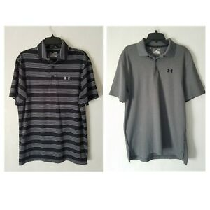 Lot of 2 Under Armour Loose Fit Heatgear Mens Polo Shirt Sz M Pre-Owned