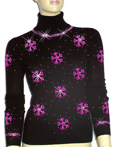 Luxe Oh` Dor 100% Cashmere Sweater Luxury Snowflakes Black Pink 3436 XsS