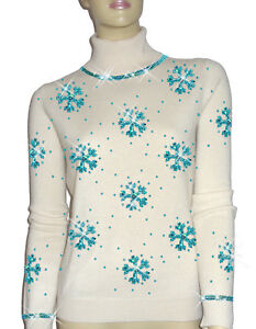 Luxe Oh` Dor 100% Cashmere Sweater Luxury Snowflakes Pearl White Turquoise 5052