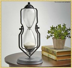 14H Vintage Decorative Metal Sand Hourglass One Hour Timer In Swivel Stand $24.98