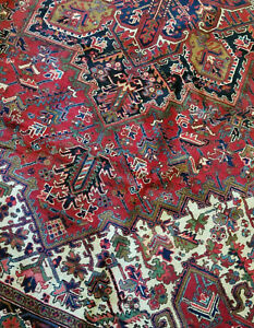 9x12 or 8.2 x 11.8 VINTAGE Quality PERSIAN HERIZ RUG SERAPI ANTIQUE PERSIAN RUG