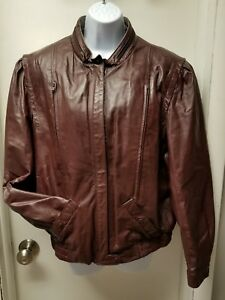 Womens Size 16 Bermans Marron Leather Jacket Coat  Ladies Motorcycle L Large