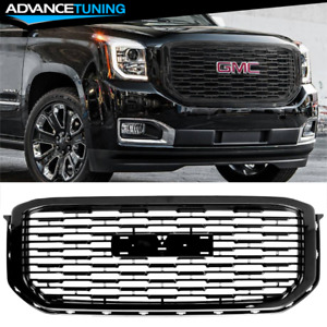 Fits 15-19 GMC Yukon XL Denali Style Front Hood Grille Replacement Black - ABS