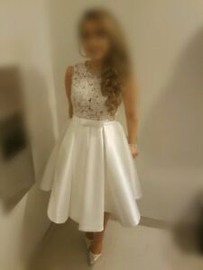 Gorgeous White Lace Cocktail Bridal Shower Dress Small