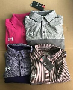 Under Armour Men's Golf Polo Shirt Lot (4) SIZE LARGE NEW WTAGS FREE SHIPPING