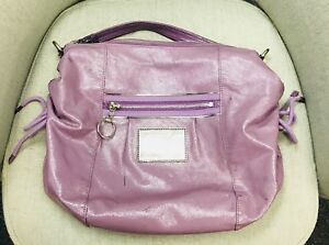 Authentic COACH POPPY Patent Leather Jazzy Hobo Handbag Purple Grape Free Ship