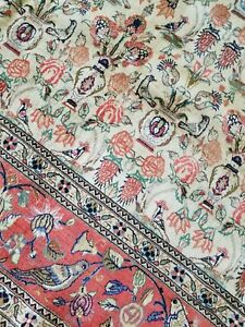 8.2 x 10.8 Silk Wool QUALITY VINTAGE ANTIQUE PERSIAN RUG OUSHAK BIRD DESIGN