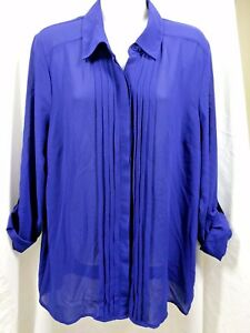 FOREVER 21 Woman's Sheer Button Up Long Sleeve Blouse Top Roll Tab Pleats Large