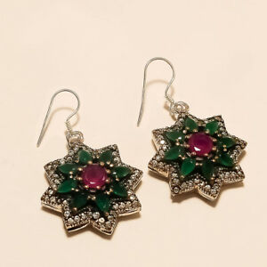 Natural Burmese Ruby Zambian Emerald Earring 925 Sterling Silver Turkish Jewelry