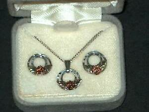 south dakota black hills gold & sterling 925 necklace & earring setnosginnys