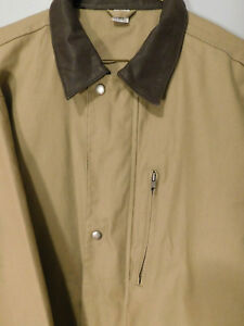 Men's Tan Canvas Jacket with Leather Collar Heavy Work or Winter Coat Size Large
