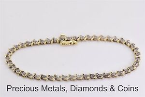 10k Yellow Gold 1 TCW Diamond Tennis Floweret Linked Bracelet 7