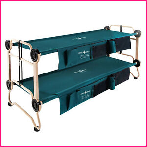 Disc-O-Bed Large with Side Organizers & Rubber Foot Pads  2 Cots