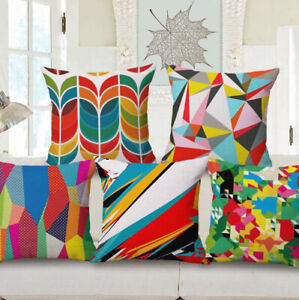 Pillow Sofa Home Cover Cushion Decoration Geometric Linen Case Car Throw Vintage $3.09