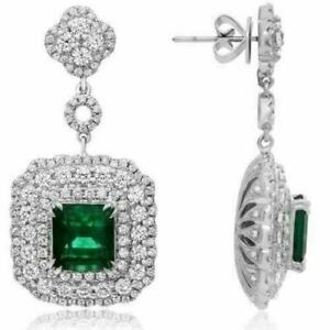 ESTATE LARGE 9.56CT DIAMOND & AAA EMERALD 18K WHITE GOLD FLOWER HANGING EARRINGS