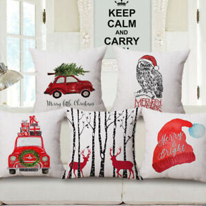 Cotton Linen Sofa Car Home Waist Cushion Cover Throw Pillow Case XMAS GIFT 18quot; $3.09
