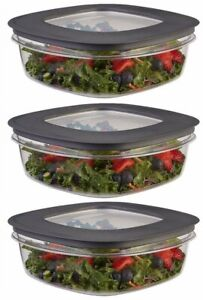 Rubbermaid 9 Cup Premier Food Storage Plastic Grey Container (Pack Of 3)
