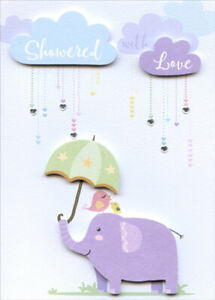 Showered with Love Elephant Tip On with Gems 3D Paper House Baby Shower Card