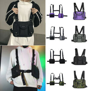 Tactical Harness Chest Rig Bag Unisex Hip Hop Oxford Two Pockets Fanny Pack Hot $11.80