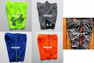 UNDER ARMOUR BOYS 2T SHORTS ~ 5 PAIRS NWT ~ YELLOW BLACK ORANGE GRAY RED