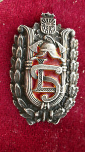1 PC. SILVER BADGE COLECTION FIRE MEN 1920-1930 LATVIJA OFFICER