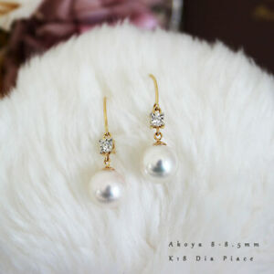 【PearlYuumi】K18 Akoya pearl pierced earrings diamond D0.04ct 2pcs 【11452】