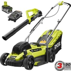P1140-4X RYOBI 13 in. Battery Push Lawn Mower and Leaf Blower w BatteryCharger